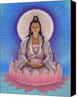 Mystical Canvas Prints - Kuan Yin Canvas Print by Sue Halstenberg