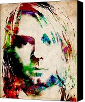 Singer Digital Art Canvas Prints - Kurt Cobain Urban Watercolor Canvas Print by Michael Tompsett