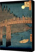 Japanese Canvas Prints - Kyoto bridge by moonlight Canvas Print by Hiroshige