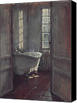 House Painting Canvas Prints - La baignoire sur pieds Canvas Print by Nicolas Martin