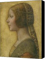 Drawing Canvas Prints - La Bella Principessa - 15th Century Canvas Print by Leonardo da Vinci