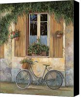 Wall Painting Canvas Prints - La Bici Canvas Print by Guido Borelli