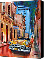Classic Cars Canvas Prints - La Bodeguita Canvas Print by Maria Arango
