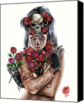 Drawing Drawings Canvas Prints - La Calavera Catrina Canvas Print by Pete Tapang
