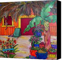 Tropical Beach Painting Canvas Prints - La Cantina Canvas Print by Patti Schermerhorn