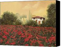 Tuscany Painting Canvas Prints - La casa e i papaveri Canvas Print by Guido Borelli