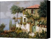 Hot Painting Canvas Prints - La Casa Giallo-verde Canvas Print by Guido Borelli