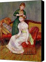 Hairstyle Painting Canvas Prints - La Coiffure Canvas Print by Renoir