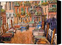 Gondola Canvas Prints - La Curva Sul Canale Canvas Print by Guido Borelli