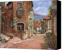 Red Canvas Prints - La Discesa Al Mare Canvas Print by Guido Borelli