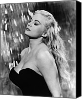 1960 Movies Canvas Prints - La Dolce Vita, Anita Ekberg, 1960 Canvas Print by Everett
