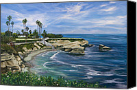Surfers Canvas Prints - La Jolla Cove Canvas Print by Lisa Reinhardt