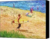 Marilyn Sholin Canvas Prints - La Jolla Surfers Canvas Print by Marilyn Sholin