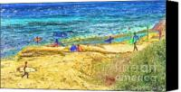 Marilyn Sholin Canvas Prints - La Jolla Surfing Canvas Print by Marilyn Sholin