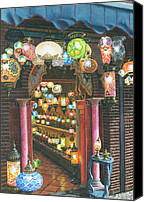 Oil Lamp Canvas Prints - La Lampareria Albacin Granada Canvas Print by Richard Harpum