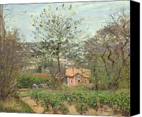 Signed Painting Canvas Prints - La Maison Rose Canvas Print by Camille Pissarro