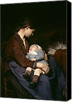 Asleep Painting Canvas Prints - La Mere Canvas Print by Elizabeth Nourse