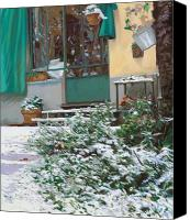 Home Painting Canvas Prints - La Neve A Casa Canvas Print by Guido Borelli