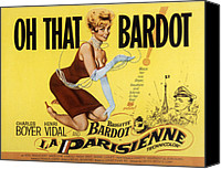 1950s Poster Art Canvas Prints - La Parisienne, Brigitte Bardot, 1957 Canvas Print by Everett