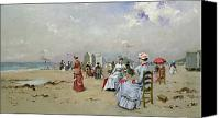 Beach Scenes Canvas Prints - La Plage de Trouville Canvas Print by Paul Rossert
