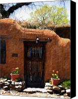 Santa Fe Digital Art Canvas Prints - La puerta marron vieja - The old brown door Canvas Print by Kurt Van Wagner
