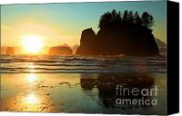 Second Beach Canvas Prints - La Push Sunset Canvas Print by Adam Jewell