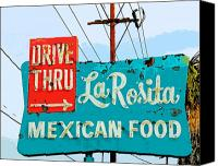 Diners Canvas Prints - La Rosita Drive Thru Canvas Print by Charlette Miller