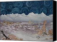 Estephy Sabin Figueroa Painting Canvas Prints - La Sal Mountains in the Snow Canvas Print by Estephy Sabin Figueroa