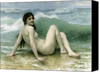 Bouguereau; William-adolphe (1825-1905) Canvas Prints - La Vague Canvas Print by William Adolphe Bouguereau
