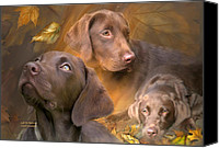 Animal Art Print Mixed Media Canvas Prints - Lab In Autumn Canvas Print by Carol Cavalaris