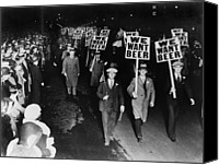 Historical Photo Canvas Prints - Labor Union Members Protesting Canvas Print by Everett