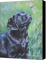 Dog Canvas Prints - Labrador Retriever pup and dragonfly Canvas Print by L A Shepard