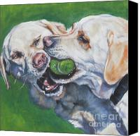 Tennis Canvas Prints - Labrador Retriever Yellow Buddies Canvas Print by L A Shepard