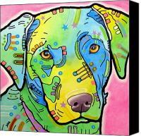 Dean Russo Mixed Media Canvas Prints - Labrador Vintage Canvas Print by Dean Russo