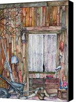 Cabin Window Canvas Prints - Lace Curtains Canvas Print by Carmen Gardell