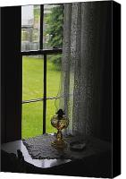 Oil Lamp Canvas Prints - Lace Curtains Canvas Print by Scott Hovind