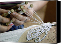 Bobbin Canvas Prints - Lace Production Using Bobbins Canvas Print by Ria Novosti