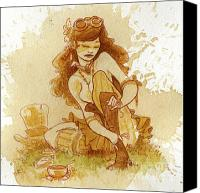 Pin-up Painting Canvas Prints - Laces Canvas Print by Brian Kesinger