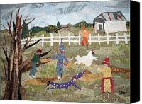 Rural Scenes Tapestries - Textiles Canvas Prints - Lache Pas la Poulette Canvas Print by Charlene White
