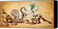 Steampunk Canvas Prints - Lacing Up Canvas Print by Brian Kesinger