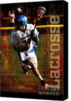 Throw Mixed Media Canvas Prints - Lacrosse Player Canvas Print by John Turek