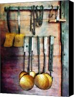 Colonial Kitchen Canvas Prints - Ladles and Spatulas Canvas Print by Susan Savad