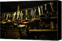 Brass Canvas Prints - Ladles of Tibet Canvas Print by Donna Caplinger