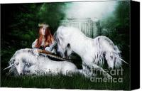 Unicorns Canvas Prints - Lady and the Unicorns Canvas Print by Shanina Conway