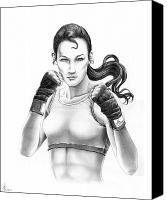 Boxer Canvas Prints - Lady Boxer Canvas Print by Murphy Elliott