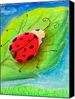 Insects Pastels Canvas Prints - Lady Bug Canvas Print by Tiffany Albright
