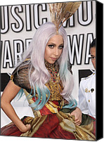 Nokia Theatre Canvas Prints - Lady Gaga Wearing An Alexander Mcqueen Canvas Print by Everett