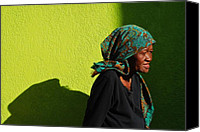 Scarf Photo Canvas Prints - Lady in Green Canvas Print by Skip Hunt