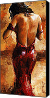 Attractive Canvas Prints - Lady in Red /24 Canvas Print by Emerico Toth
