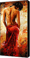 Erotic Painting Canvas Prints - Lady in red 27 Canvas Print by Emerico Toth